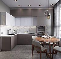 Кухня в 2 яруса белый глянец с капучино на заказ фасады мдф