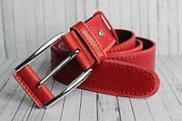 Ремень мужской красный в джинсы 40мм