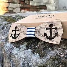 Галстук-бабочка I&M Craft из дерева с якорями (011210)