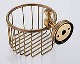 Настенный (подвесной) держатель рулона туалетной бумаги бронза 0523, фото 4