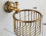 Настенный (подвесной) держатель рулона туалетной бумаги бронза 0523, фото 5