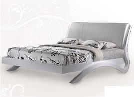 Ліжко з ДСП/МДФ в спальню Евіта двоспальне (білий глянець) Domini