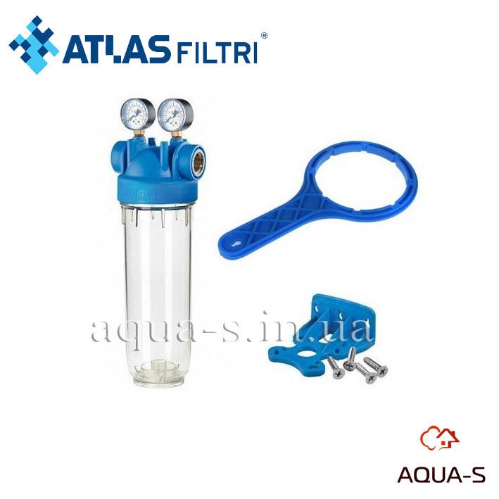 """Фильтр-колба для холодной воды Atlas Filtri DP M MONO TS Dn 1""""  45° Высота 10"""" (с двумя манометрами) ZA1380731"""