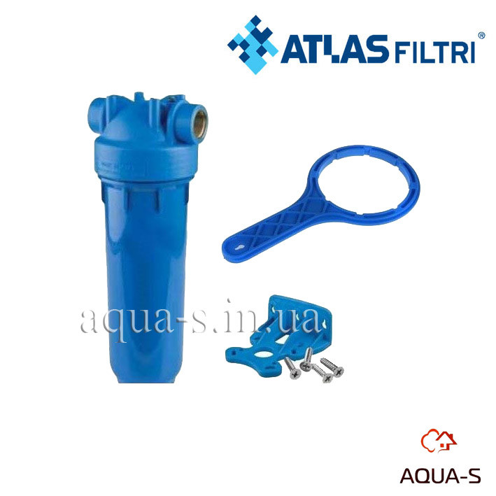 """Фильтр-колба для холодной воды Atlas Filtri DP MONO AB Dn 1""""  45° Высота 20"""" (голубая колба)ZA1381702"""