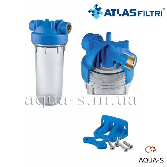 """Фильтр-колба для холодной воды Atlas Filtri DP MONO TS Dn 1""""  45° Высота 10"""" (прозрачная колба)RA1280701"""