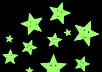 """Наклейка декор 3D """" Звезды Смайлики"""" светящиеся в темноте , набор/12 шт."""