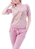 Брендовый турецкий гламурный спортивный костюм женский реглан Турция S M L XL XXL XXXL пудра, фото 1