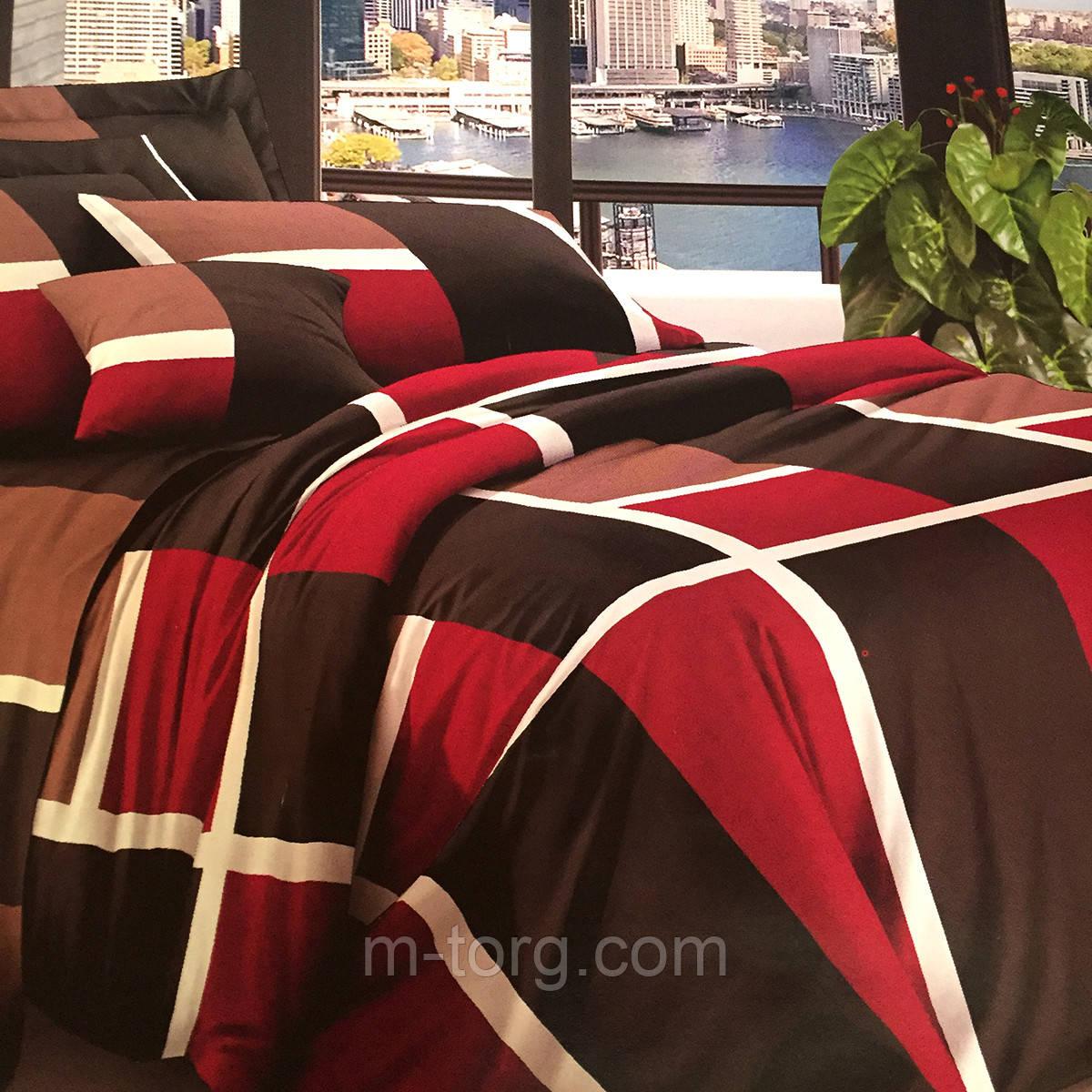 Комплект постельного белья евро размер 200/220,простынь 220/240,нав-ки 70/70,ткань поплин 100% хлопок клетка