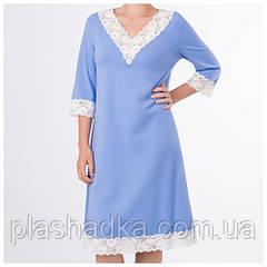Женская ночная сорочка однотонная, небесный+шампань