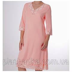 Женская ночная сорочка однотонная, персиковая