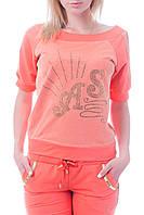 Брендовый турецкий гламурный спортивный костюм женский реглан Турция S M L XL XXL XXXL кораловый, фото 1