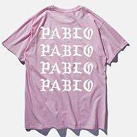 Футболка I Feel Like Pablo розовая с белым логотипом, унисекс (мужская, женская, детская)