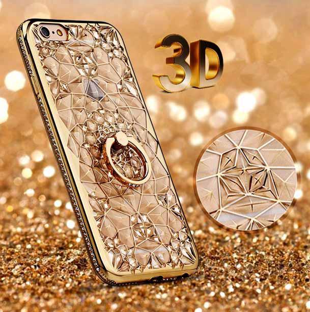 Чехол 3D для 7 iPhone золотой с кольцом и стразами
