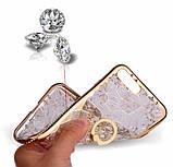 Чехол 3D для 6/6S iPhone золотой с кольцом и стразами, фото 2