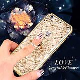 Чехол 3D для 6/6S iPhone золотой с кольцом и стразами, фото 5