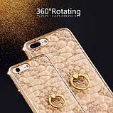 Чехол 3D для 6/6S iPhone золотой с кольцом и стразами, фото 7