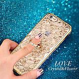 Чехол 3D для 6/6S iPhone золотой с кольцом и стразами, фото 8