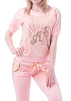 Брендовый турецкий гламурный спортивный костюм женский реглан Турция S M L XL XXL XXXL персиковый, фото 1