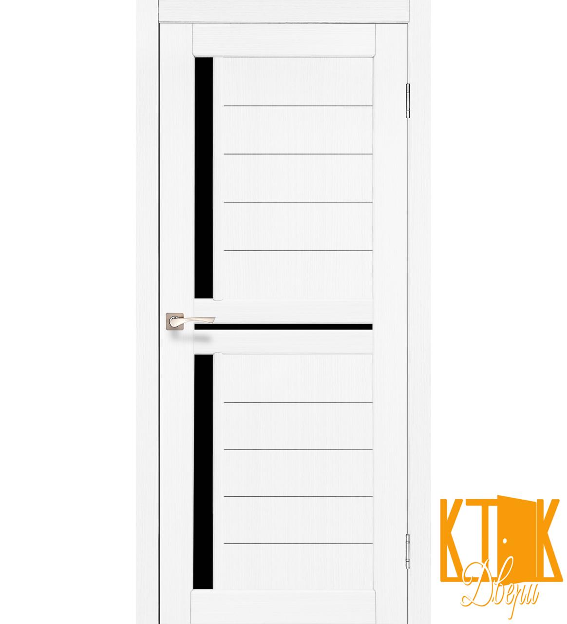 """Міжкімнатні двері колекції """"Scalea"""" з чорним склом SC-04 (ясен білий)"""