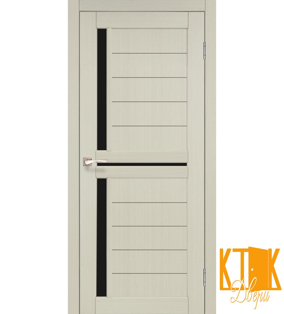 """Міжкімнатні двері колекції """"Scalea"""" з чорним склом SC-04 (дуб білений)"""