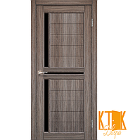 """Межкомнатная дверь коллекции """"Scalea"""" с черным стеклом SC-04 (дуб грей)"""
