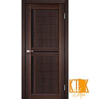 """Межкомнатная дверь коллекции """"Scalea"""" с черным стеклом SC-04 (орех)"""