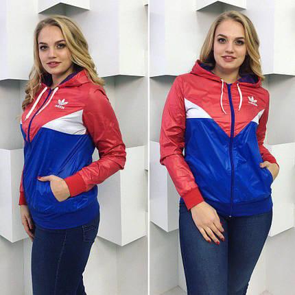 """Женская спортивная куртка-ветровка """"Аdidаs"""" с капюшоном (большие размеры), фото 2"""