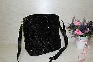 Стильная женская сумка с блестящей крошкой с длинным ремешком
