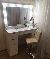 Однотумбовый стол с подсветкой. Модель V51/2 белый