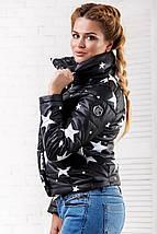 """Короткая демисезонная женская куртка на синтепоне """"STARS"""" с воротником стойкой (3 цвета), фото 2"""