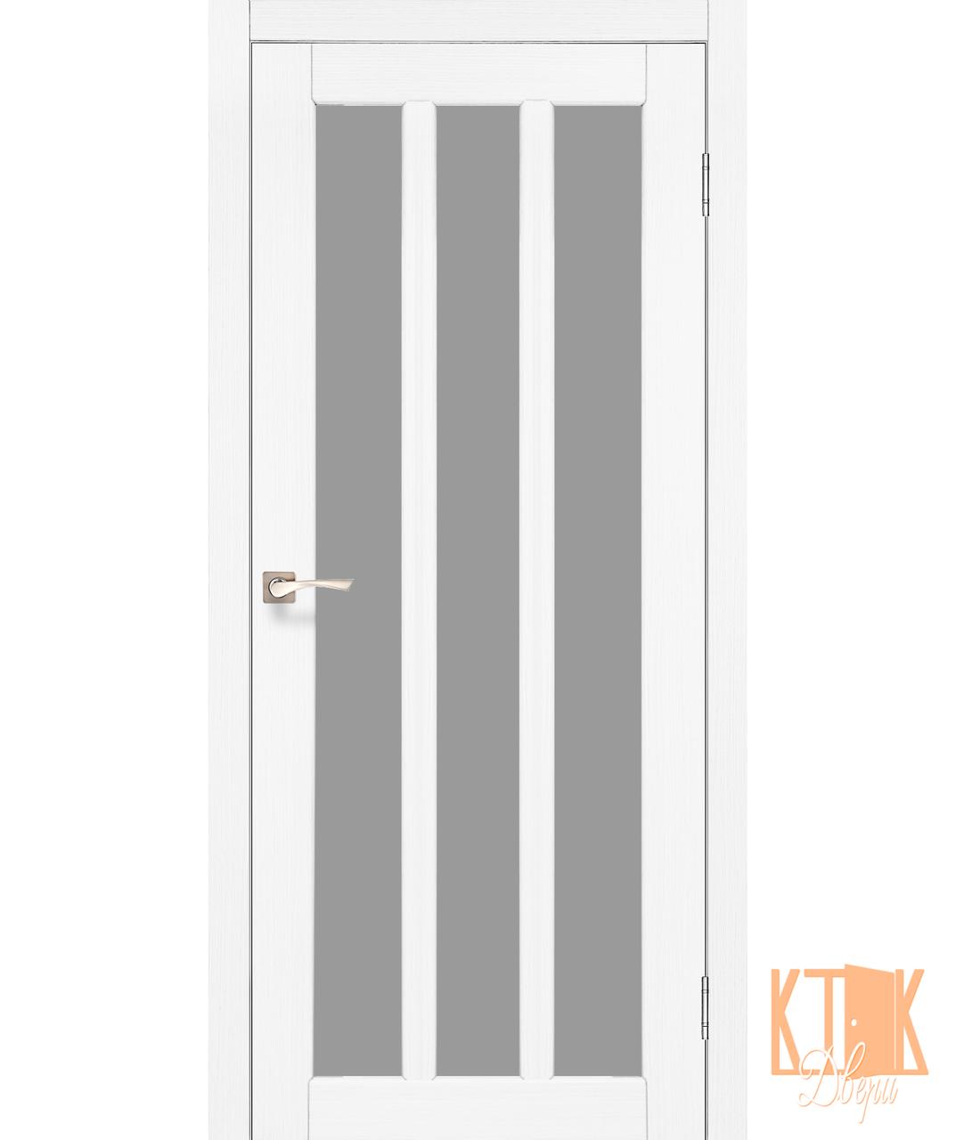 """Межкомнатная дверь коллекции """"Napoli"""" NP-02 со стеклом сатин (ясень белый)"""