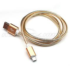 Кабель USB to micro USB, металлическая оплетка, Gold, 1 м