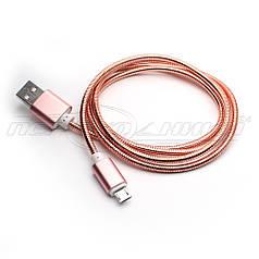 Кабель USB to micro USB, металлическая оплетка, Pink, 1 м
