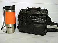 Черная мужская сумка через плечо с наружным карманом