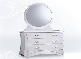 Будуарний столик + дзеркало Евіта (білий глянець) Domini