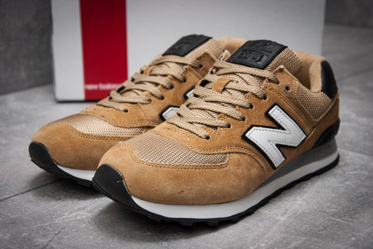 Мужские кроссовки New Balance 574 (Нью Беланс) на осень бежевого цвета —  реплика f8dd02edb98
