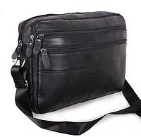 Кожаная мужская сумка через плечо деловая для документов А4 ноутбука 36х25х10см