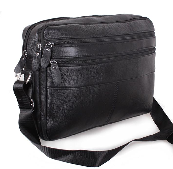 Кожаная мужская сумка Bon3923-1 черная через плечо для документов А4  ноутбука натуральная кожа 36х25см 9a42b8e9e7e