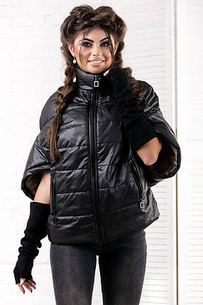 """Стеганая женская куртка на синтепоне """"DION"""" с коротким рукавом и воротником стойкой (4 цвета), фото 2"""