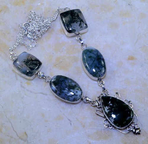 Моховый агат ожерелье с натуральным моховым агатом в серебре