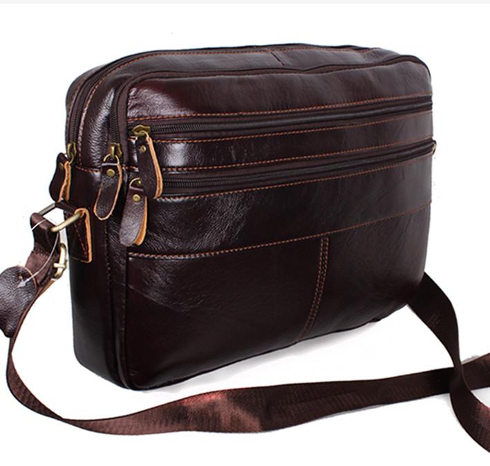 d2c9b27a38a6 Кожаная мужская сумка через плечо Bon3923-2 коричневая для документов А4  ноутбука 36х25см