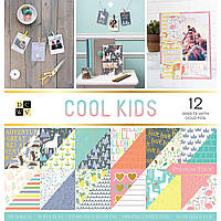 Набір паперу - Cool Kids - DCWV - 12 WGold Foil - 30x30 Ціна за пів набору!