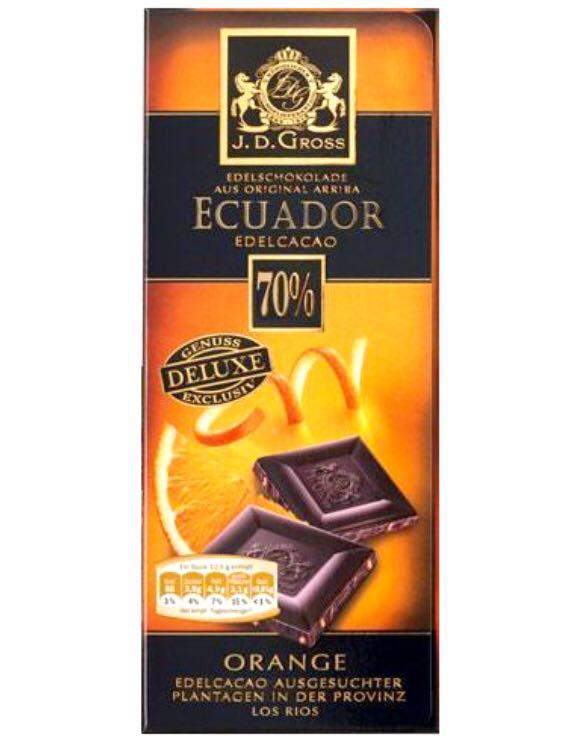 Шоколад J.D.Gross Ecuador черный 70% какао 125г