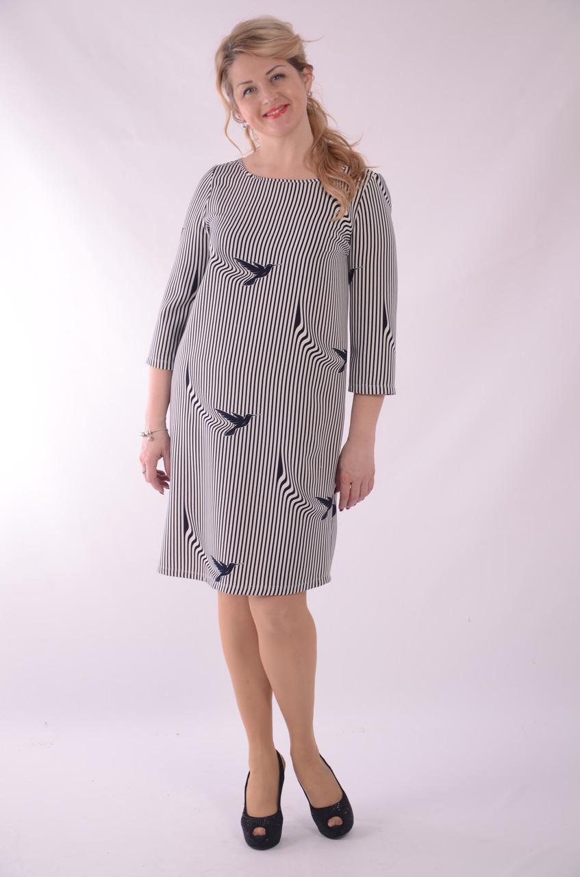 Платье женское полосатое нарядное трапеция синее белое   Пл 055