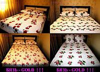 Простынь полуторная Gold красные цветы
