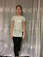 Летний комплект с лосинами для девочки подростка 152/158 см