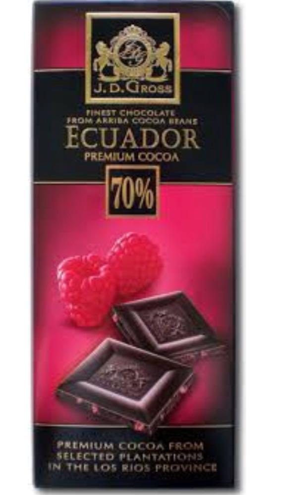 Шоколад J.D.Gross чёрный 70% какао с малиной 125 г