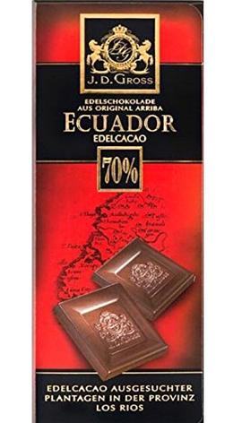 Шоколад  J.D. Gross Ecuador Cocoa черный 70% какао 125 г, фото 2