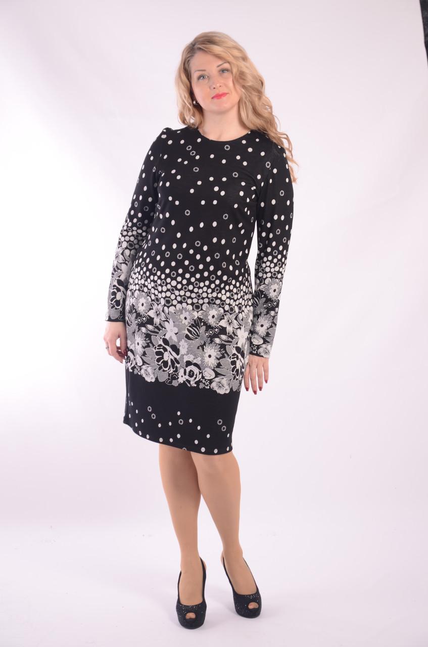 Черное платье трикотажное  облегающее Пл 070-1