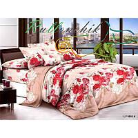 Полуторное постельное белье красные цветы